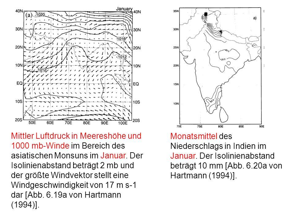 Mittler Luftdruck in Meereshöhe und 1000 mb-Winde im Bereich des asiatischen Monsuns im Januar. Der Isolinienabstand beträgt 2 mb und der größte Windvektor stellt eine Windgeschwindigkeit von 17 m s-1 dar [Abb. 6.19a von Hartmann (1994)].